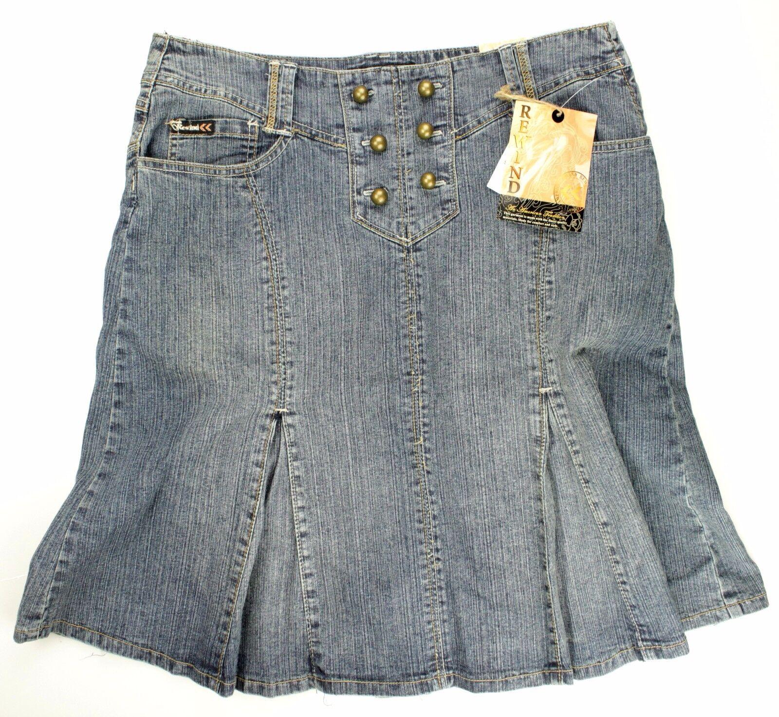 Rewind Women NWT A line Skirt Size 11 bluee Ramie Denim Pleated Casual