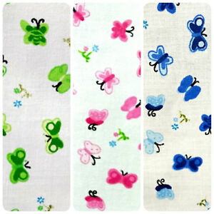 FLORAL-BUTTERFLY-PRINT-ON-WHITE-POLY-COTTON-FABRIC-60-034-BY-THE-YARD-4-COLORS