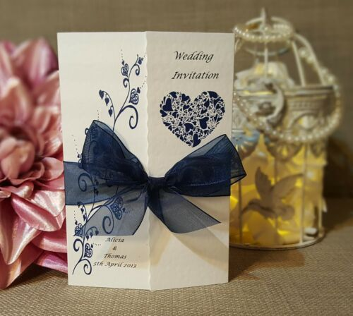 Personalised Gatefold Wedding Invitations Or Evening Invites with Envelopes