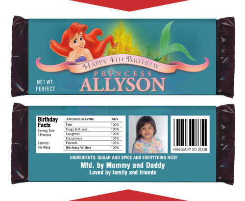12 Ariel The Little Mermaid Birthday Party Favors Personalized Candy Wrappers