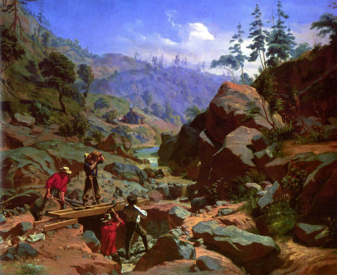 Gold MINERS IN THE SIERRAS CALIFORNIA PAINTING BY CHARLES NAHL REPRO