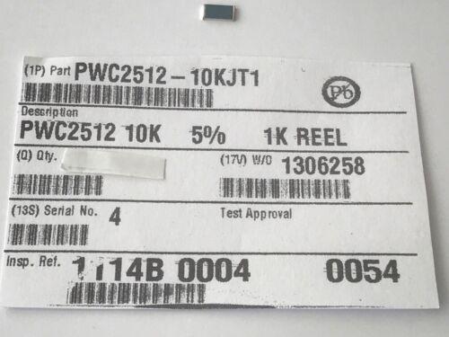 Last-Résistance 5/% 20 unités pwc2512-10kjt1 10k 500 V impulsion fixe SMD 1,5//2w