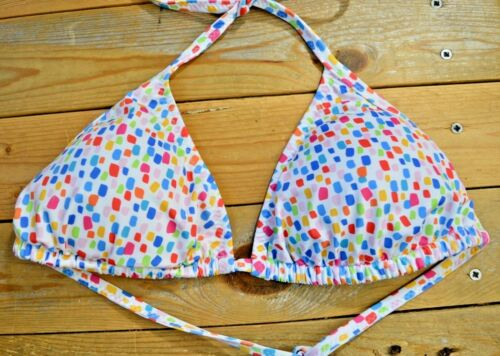 Women/'s White Muticolour Halterneck Underwired Mix /& Match Bikini Top Size 10