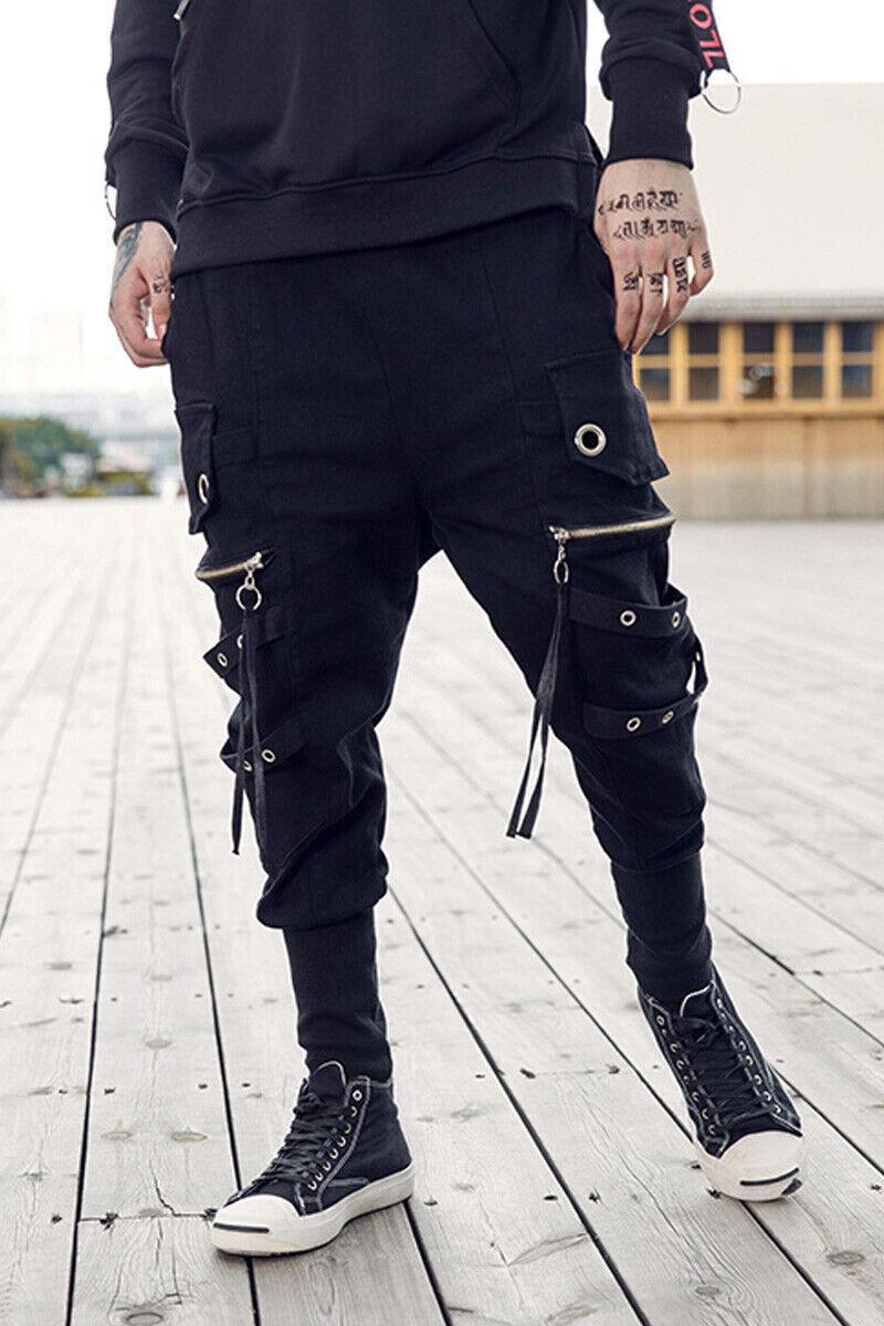 Mens Fashion Punk Harem Pants Zipper Decor Hip-hop Casual Cotton Pencil Trousers