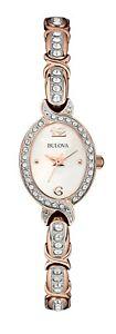 Bulova Women's Quartz Swarovski Crystal Accents White Dial 17mm Watch 98L200