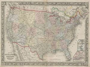 GEOGRAPHY-MAP-ILLUSTRATED-ANTIQUE-MITCHELL-USA-LARGE-POSTER-ART-PRINT-BB4447A