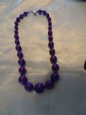 Vintage Silver Tone Clasp Necklace W/ Purple Plastic Beads  # 980