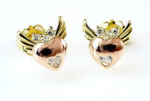 585 Gold Ohrstecker Herz mit Flügeln mit Zirkonia Steinen  1 Paar