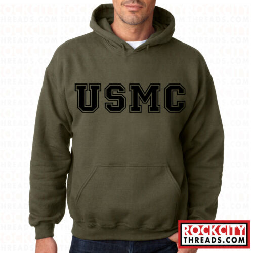 USMC BLOCK PT MILITARY GREEN HOODIE Hooded United States Marines US Corps