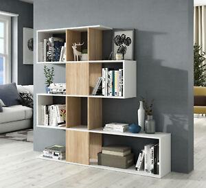 Estanteria o libreria moderna en forma de zig zag color roble ...