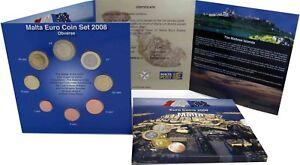 Malta-2008-KMS-1-Cent-bis-2-Euro-Postsatz-mit-Briefmarken-im-Folder