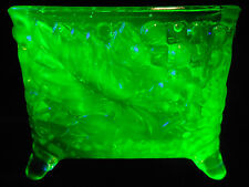 Green Vaseline glass toothpick business card holder / uranium canary grape cable