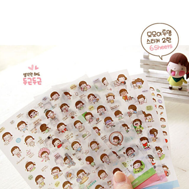 6 Sheets Lovely DIY Planner Diary Stickers Biscuits Scrapbook Calendar Decor