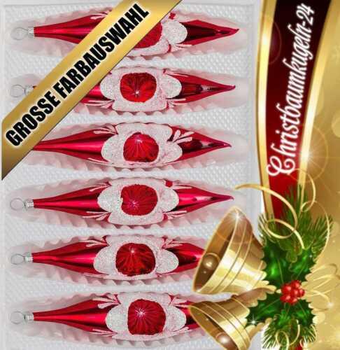 """Glas-Zapfen Christbaumkugeln Set in """"Hochglanz Vintage Rot"""" 6 tlg"""