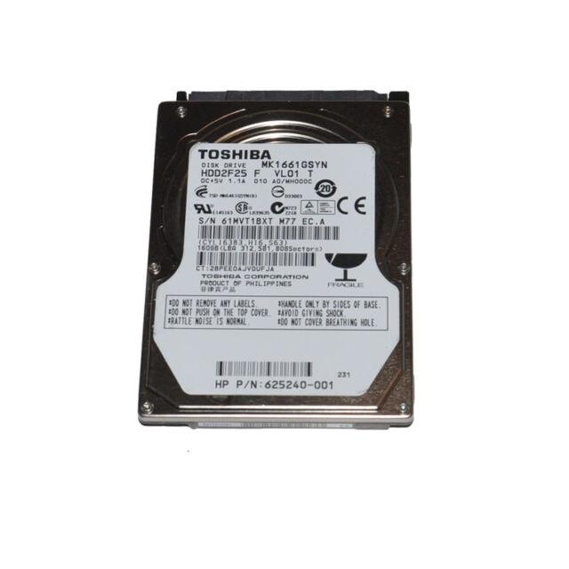 """Toshiba MK1661GSYN 160GB 7200RPM 2.5"""" SATA Laptop Hard Drive"""