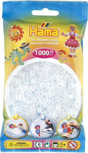 Hama 1000 Midi Bügelperlen 207-19 Transparent-Weiß Ø 5 mm Perlen Steckperlen