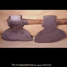 2 Antique Cast Iron Broad Axe Ax Hewing Lumbering Building Beams Edge Tool Co