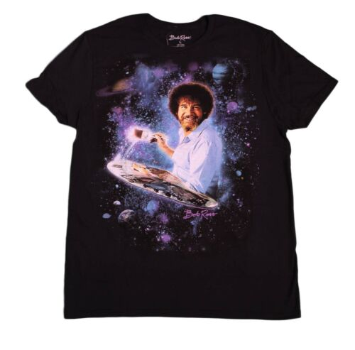 Bob Ross Artist Art Galaxy The Joy of Painting PBS T-Shirt Tee Black Mens New