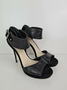 Wittner-Black-Leather-Ankle-Strap-Open-Toe-Platform-Heel-Women-039-s-Size-EU39-US8-5
