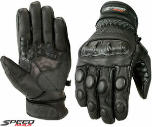 MENS-BLACK-PERFORATED-CARBON-KNUCKLE-SUMMER-MOTORBIKE-MOTORCYCLE-LEATHER-GLOVES
