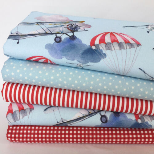 Come Fly with me 5 piece fat quarter bundle 100/% cotton fabric for sewing