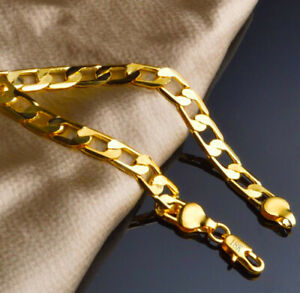 18k-Yellow-Gold-Mens-Wide-12mm-Curb-Link-Chain-Bracelet-w-Gift-Pkg-D757