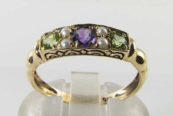 SUFFRAGETTE 9K 9CT YELLOW gold AMETHYST PERIDOT PEARL ART DECO INS RING FREE Sz