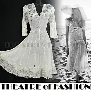 VINTAGE-70s-CROCHET-DRESS-60s-WEDDING-LACE-HIPPIE-BOHO-GYPSY-SUPERMODEL-BEAUTY