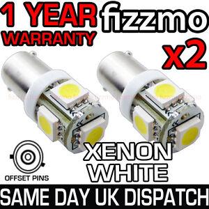 2x-5-SMD-LED-XENON-WHITE-SIDE-LIGHT-BULB-433-434-BAX9S-H6W-360-OFFSET-PINS-CAP