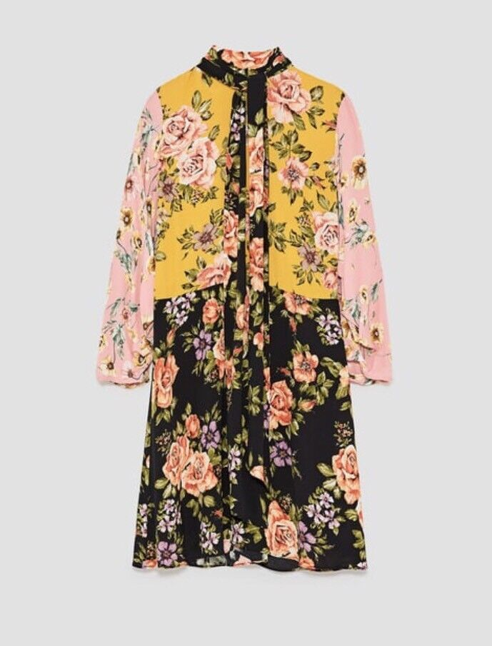 Zara AW17 Floral Patchwork Flowing Mini Dress Size S NWT