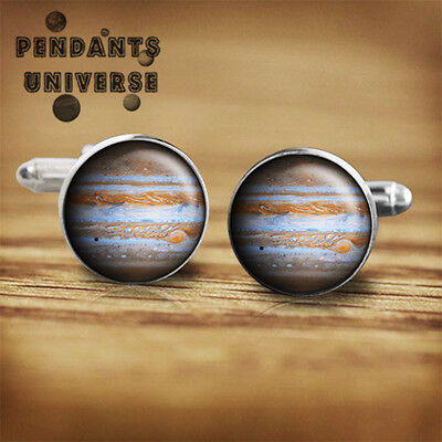 Saturn planet Handmade Cuff links glass 16mm solar system astronomy cufflink