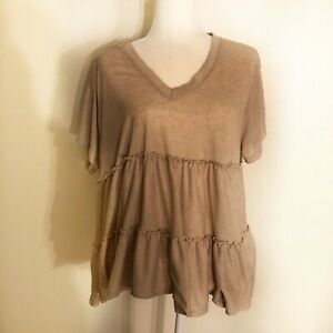 Altar-d-State-Size-L-Short-Sleeve-V-Neck-Gray-Ruffle-Top