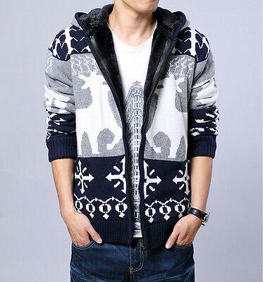 New Men's Knitted Fleece Lined Hooded Deer Pattern Warm Sweater Cardigan Jacket