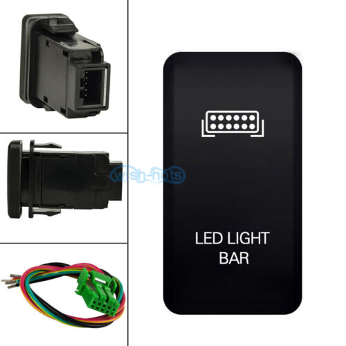 """1.58/""""x0.82/"""" LED LIGHT BAR White LED Push Button Switch W// Wire Kit For Toyota"""