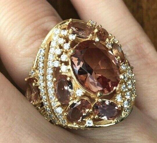 925 Sterlingsilber Vergoldet Alexandrit Wechsel Farbe Ringgröße 6,7,8,9
