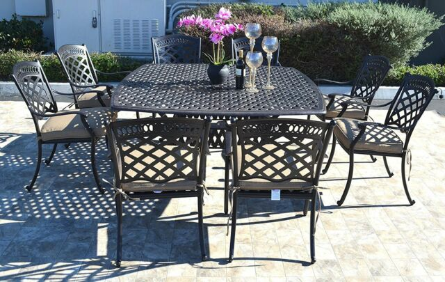 Cast Aluminum Patio Dining Set 9pc Outdoor Furniture Square Nassau