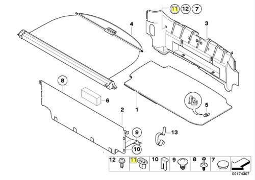 BMW avvio tronco taglia l/'occhiello inserisci Clip Plug 1840154 5113 1840154