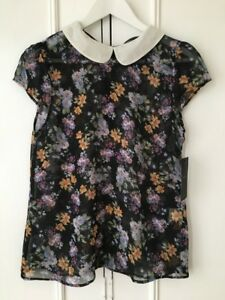 Zara-Floral-Sheer-SS-Blouse-in-Black-S-MEX26-RRP-15-99-Rare-20-Disc