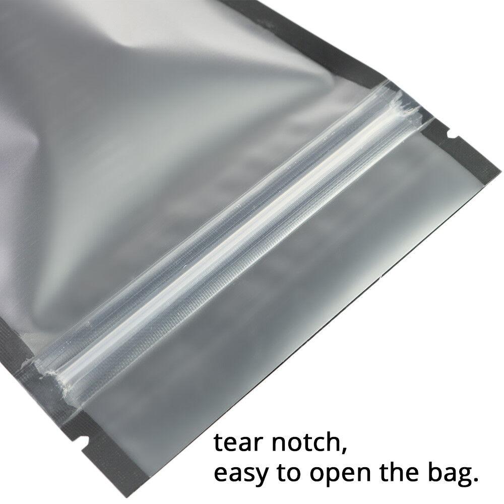 18.37oz Matte Clear Front Black Inside/&Back Mylar Stand up ZipLock Bag B04