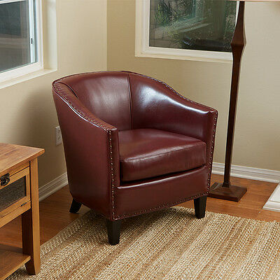 Set of 2 Wine Red Leather Tub / Barrel Design Club Chairs w/ Nailhead Accents
