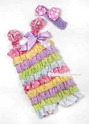 Toddler Baby Rainbow Pink White Dot Ruffle ONE PIECE Romper Kids Girls NB-3Year