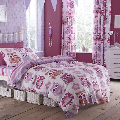 Catherine Lansfield Owl Floral Girls Reversible Duvet Quilt Cover Bedding Set