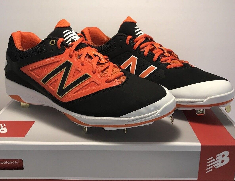New Balance Mens Size 12 Low Metal Baseball Cleats Black orange