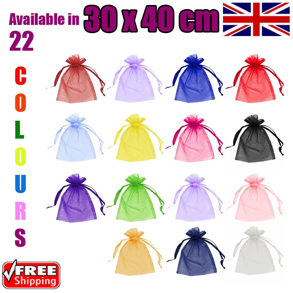 30 x 40 cm Organza Gift Pouch Wedding Favour Bags Jewellery Pouch in 23 Colours