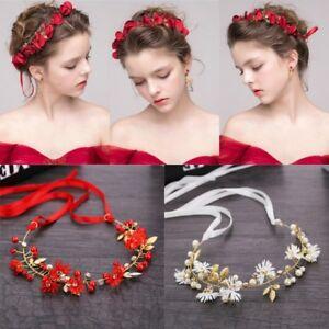 Women-Headband-Crystal-Ribbon-Wreath-Flowers-Vine-Crown-Tiaras-Wedding-Bridal