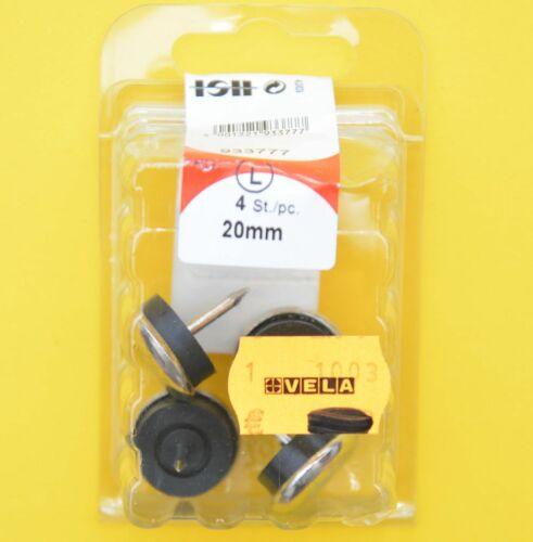 4 Stück Stuhlgleiter mit Nagel Metall vernickelt mit Gummi 20mm HSI 933777