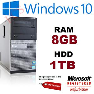 Dell Optiplex 390 Tower Core i3 DVD RW WIFI HDMI Windows 10 8GB RAM 1TB Hard