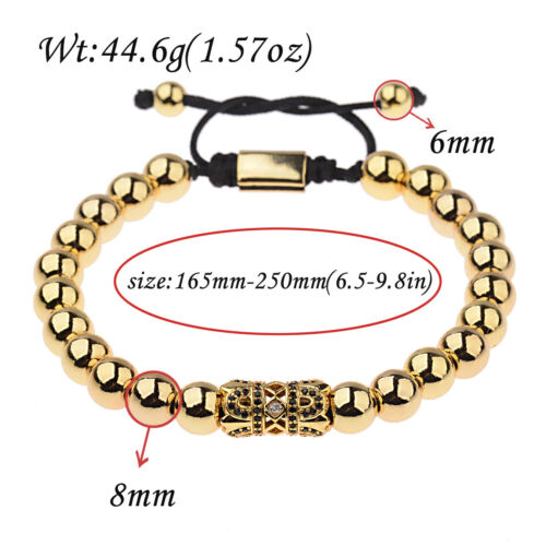 Luxury Men/'s Micro Pave CZ Ball Crown Braided Adjustable Bracelets Jewelry Gift