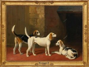 Old Master Art Portrait Animal Dog FoxHounds Oil Painting Canvas Unframed 30x40