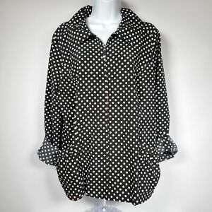 Laura Ashley Black White Polka Dot Womens L Full Zip Jacket Lightweight